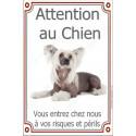 Plaque portail 24 cm Attention au Chien, Chien Chinois à Crête