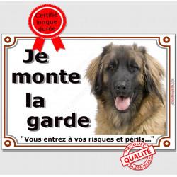 """Leonberg Tête, plaque portail """"Je Monte la Garde, interdit sans autorisation"""" pancarte panneau photo race"""