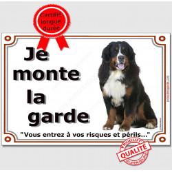 """Bouvier Bernois Assis, plaque """"Je Monte la Garde"""" 2 tailles LUX B"""