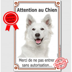 "Berger Blanc Tête, plaque ""Attention au Chien"" 24 cm LUX"