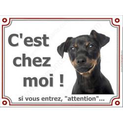 Plaque 4 tailles LUXE Attention au chien ! Pinscher Noir et Feu