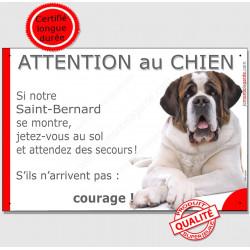 """St-Bernard couché, plaque """"Jetez Vous au Sol, Attention au Chien"""" 24 cm JET"""