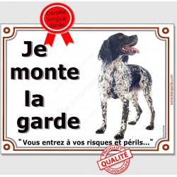 """Epagneul Breton Noir, plaque """"Je Monte la Garde"""" 4 tailles LUX B"""