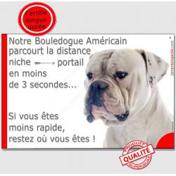 """Bouledogue USA Tête, plaque """"distance Niche - Portail"""" 24 cm"""