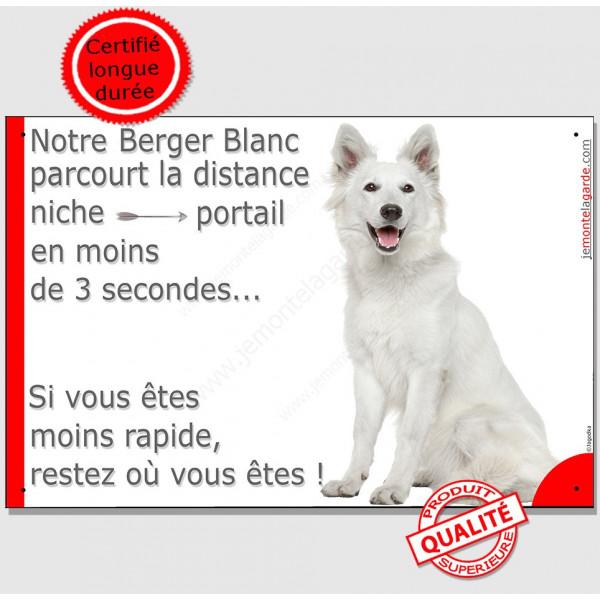 Berger Blanc Suisse Assis, Plaque humour distance niche-portail 3 secondes pancarte attention au chien panneau drôle marrant