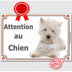 Plaque portail 2 tailles Attention au Chien, Westie couché pancarte panneau Westy photo