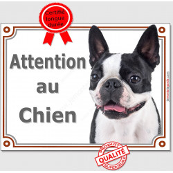 "Plaque portail ""Attention au Chien"" Boston Terrier Tête pancarte panneau photo"