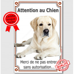 "Labrador Sable Couché, plaque ""Attention au Chien"" 24 cm VL-A"
