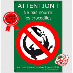 "Plaque ""Attention, ne pas nourrir les crocodiles !"" 24 cm OBI"