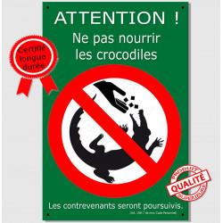 Pancarte déco marrante : ne pas nourrir les crocodiles ! plaque humour panneau drôle Alligator