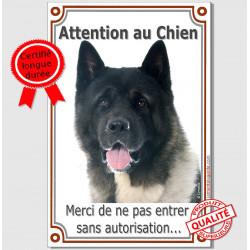 Plaque portail verticale Attention au Chien, Akita Américain noir et blanc tête, pancarte interdit entrer sans autorisation