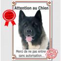 """Akita Américain, plaque verticale """"Attention au Chien"""" 24 cm VLC"""