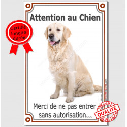 "Golden Retriever Assis, plaque ""Attention au Chien"" 24 cm LUX"