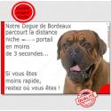 """Dogue de Bordeaux Tête, plaque """"distance Niche - Portail""""  24 cm"""