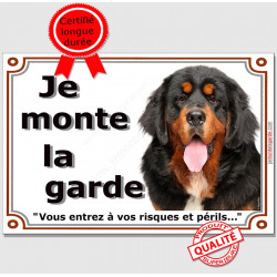 """Plaque """" Je Monte la Garde, Risques et périls"""" Dogue du Tibet Tête, pancarte, panneau Attention au Chien photo"""