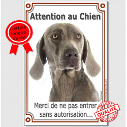 "Weimar Tête, plaque verticale ""Attention au Chien"" 24 cm VL-A"