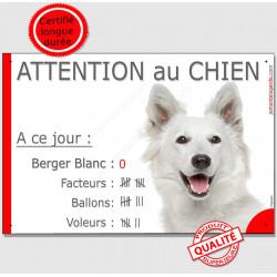 """Berger Blanc Tête, plaque """"Nombre de Voleurs, ballons, facteurs"""" 24 cm NBR"""
