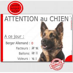 """Berger Allemand, plaque humour """"Nombre de Voleurs, ballons, facteurs"""" 24 cm NBR"""