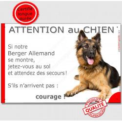 """Berger Allemand Couché, plaque """" Jetez Vous au Sol, attention au Chien"""" JET"""