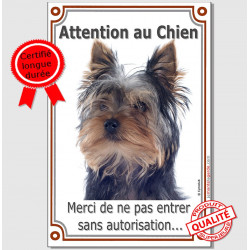"Yorkshire Tête, plaque ""Attention au Chien"" 24 cm VL-A"
