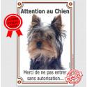 """Yorkshire Tête, plaque """"Attention au Chien"""" 24 cm VL-A"""