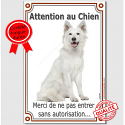 "Berger Blanc Assis, plaque ""Attention au Chien"" 24 cm LUX A"