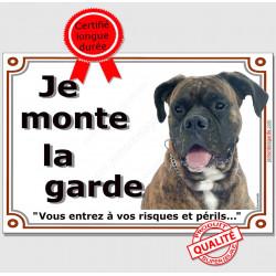 Boxer Bringé Tête, Plaque portail Je Monte la Garde, panneau affiche pancarte, risques périls attention au chien photo