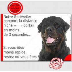 """Rottweiler, plaque humour """"distance Niche - Portail"""" 24 cm 3SEC"""