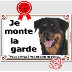 """Plaque portail Rottweiler Tête """"Je Monte la Garde, risques et périls"""" pancarte, panneau attention au chien photo"""