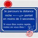 """Plaque Portail bleue """"parcours distance niche portail en 3 secondes"""" 2 tailles C"""