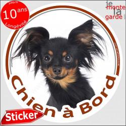 """Russkiy Toy noir et feu, sticker autocollant voiture rond """"Chien à Bord"""" 14 cm, adhésif photo petit chien russe"""