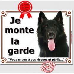 Berger belge Groenendael Tête, Plaque portail Je Monte la Garde, panneau affiche pancarte, risques périls attention au chien