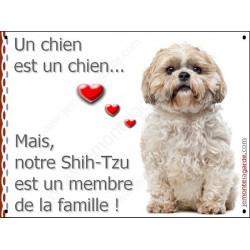 """Shih-Tzu fauve assis, plaque """"Membre de la Famille"""" 16 cm LOVE"""