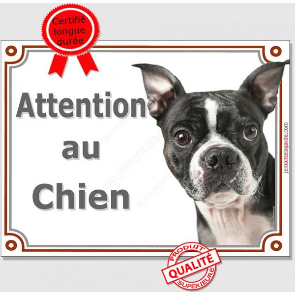 """Boston Terrier Tête, Plaque portail """"Attention au Chien"""" panneau affiche pancarte photo"""
