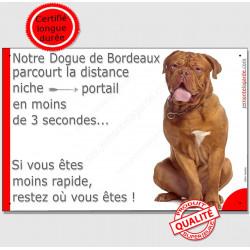 """Dogue Bordeaux Assis, plaque """"parcourt distance Niche - Portail"""" 24 cm 3SEC"""