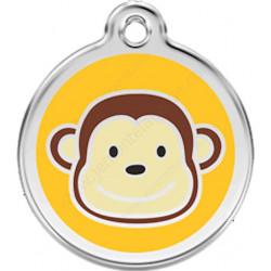 Médaille Identité Petit  Singe pour Chiens et Chats, médaillon sécurité gravé avec son nom numéro de téléphone