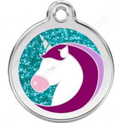 Médaille Identité Licorne avec paillettes pour Chiens et Chats, médaillon sécurité gravé avec son nom numéro de téléphone