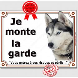 """Husky Gris Tête, plaque """"Je Monte la Garde"""" 4 tailles LUX B"""