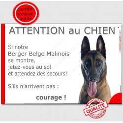 Plaque de portail humour, Berger Belge Malinois tête je tez vous au sol et attendez secours, pancarte attention au chien drôle p