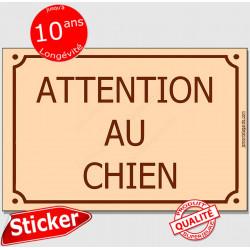"""Sticker autocollant adhésif Portail 24 cm """"Attention au Chien"""" façon plaque Rue beige"""