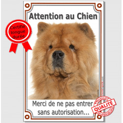 "Chow-Chow fauve tête, plaque ""Attention au Chien"" 24 cm VLA"