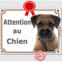 Plaque portail 2 tailles Attention au Chien, Border Terrier Tête pancarte panneau photo
