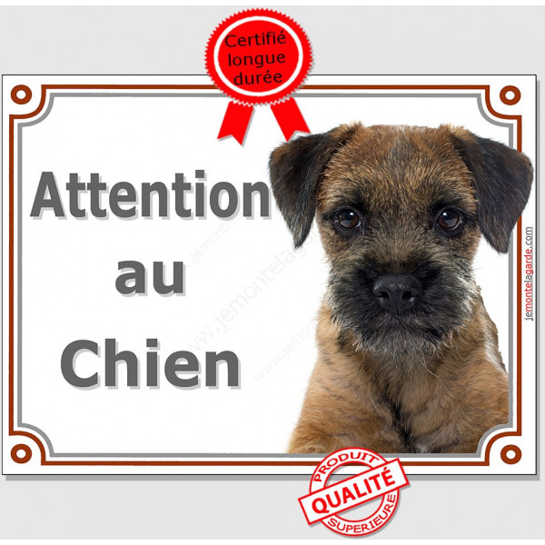 "Border Terrier, plaque portail ""Attention au Chien"" pancarte panneau photo"