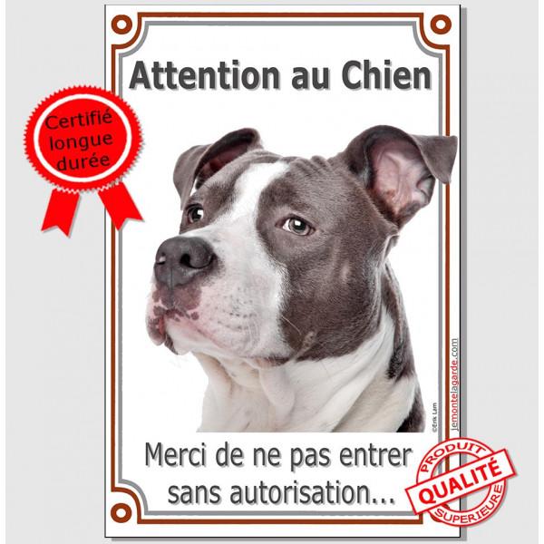 Am-Staff Bleu, Plaque Portail Attention au Chien verticale, interdit sans autorisation, pancarte, affiche panneau