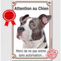 """Am-Staff Bleu Tête, plaque """"Attention au Chien"""" 24 cm VLUX A"""