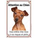 """Pinscher Fauve, plaque verticale """"Attention au Chien"""" 24 cm VLC"""