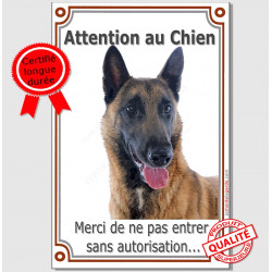 "Malinois, plaque verticale ""Attention au Chien"" 24 cm VLC"