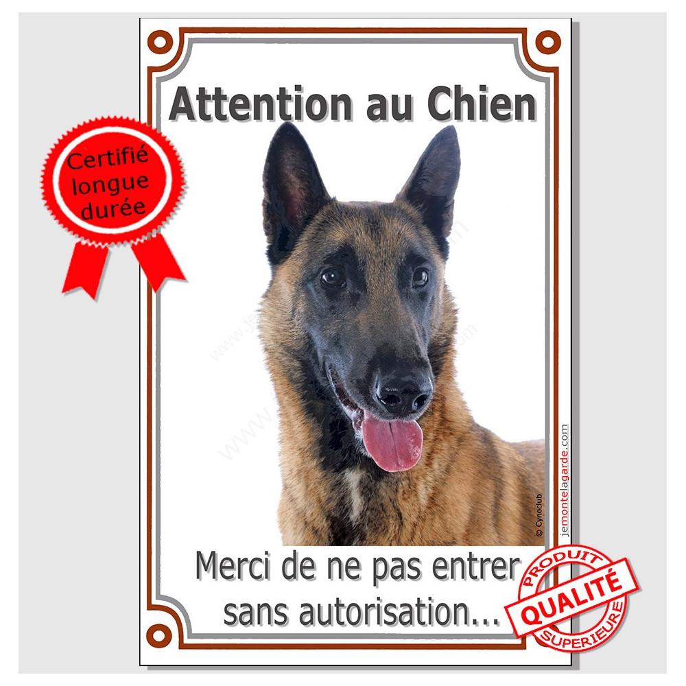 Malinois Tete Plaque Portail Attention Au Chien Verticale Pancarte Affiche Panneau