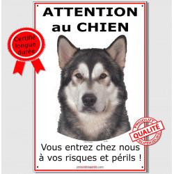 """Alaskan Malamute, plaque """"Attention au Chien"""" 24 cm ECO"""
