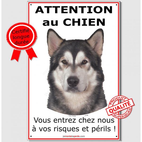 Alaskan Malamute, plaque portail verticale Attention au Chien, pancarte affiche panneau, risques et périls